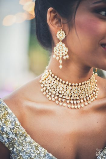 Photo of Engagement polki choker and earrings