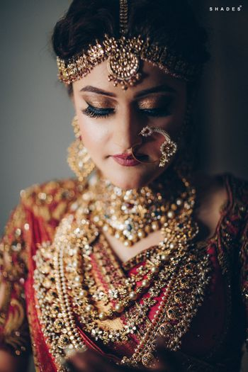 A south Indian bride in gold jewelry