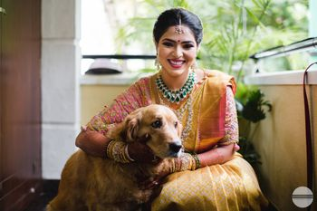 South Indian bride with dog
