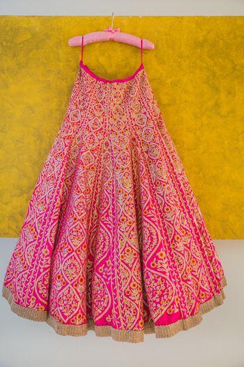 pink bridal lehenga with gota work