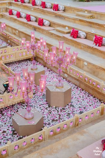 tea light and candelabra decor idea in pink