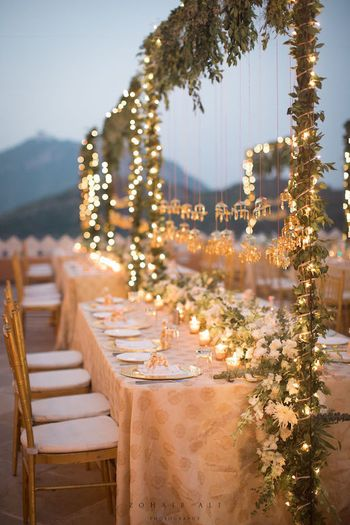Intimate long table dinner setting
