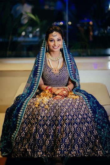 Photo of Offbeat blue Anita Dongre bridal lehenga