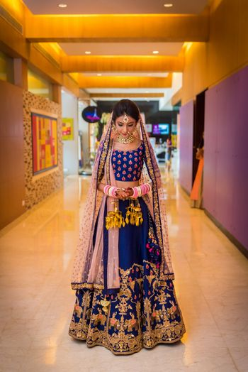 Navy Blue Bridal Lehenga Photo cobalt blue