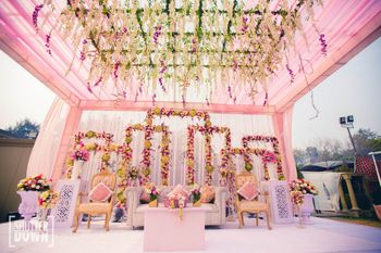 Fairytale wedding stage decor in pastels