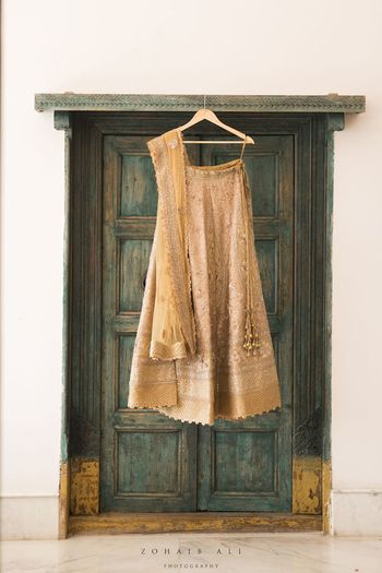 Photo of Lehenga against green door on hanger