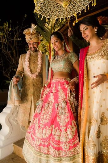 Photo of Sabyasachi pink and mint green lehenga