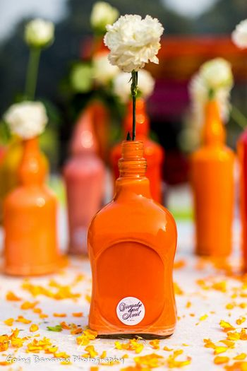 handpainted bottles as table center pieces