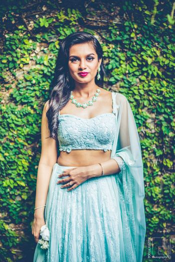 Light blue engagement lehenga with bustier blouse