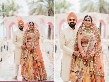 matching sikh bride and groom in orange outfits