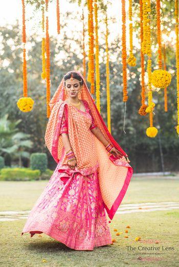 Pink banarsi bridal lehenga by Ekaya