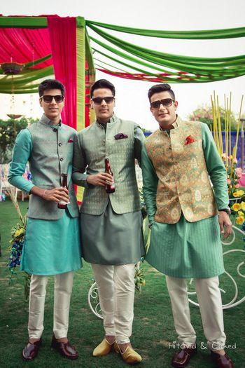 Photo of Mint green kurtas with printed nehru jackets