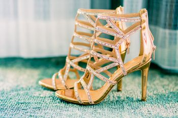 Gold bridal heels with straps