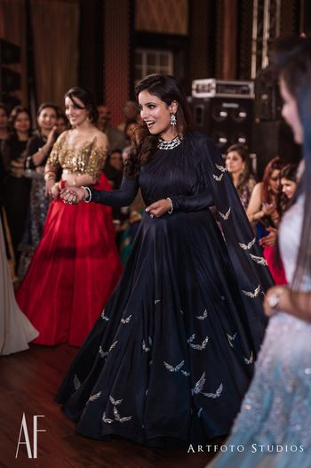 Navy blue cocktail gown with attached dupatta