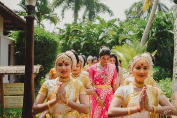 Bridal entry with dancers for Kerala wedding
