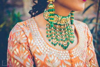 Photo of Funky choker with green beads for mehendi