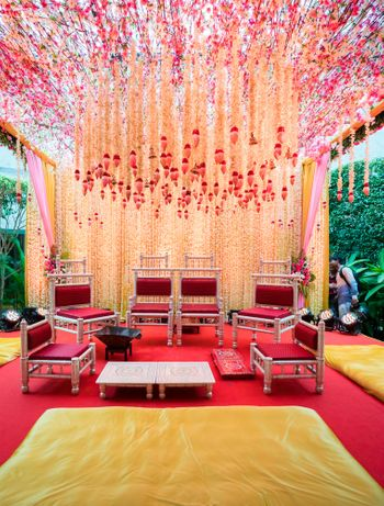 Mandap decor with floral strings hanging