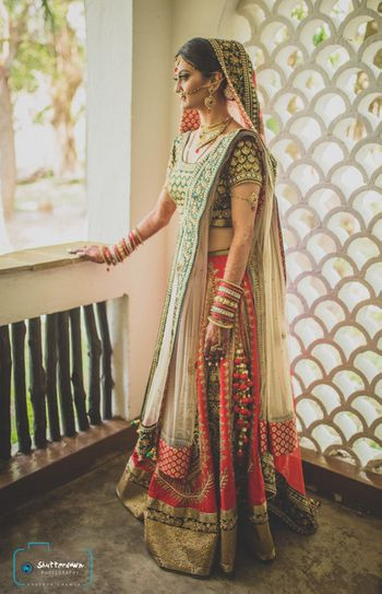 red and green lehenga