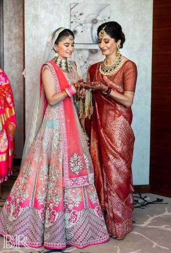 Ombre bridal lehenga in pink by ecru