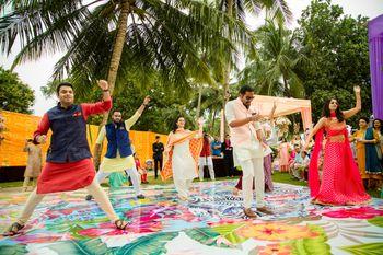Photo of Printed vibrant mehendi dance floor