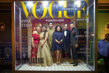 Photo of Sangeet photobooth with vogue mag cover