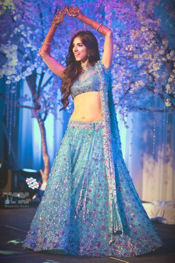 Photo of ice blue fairytale lehenga with intricate embroidery
