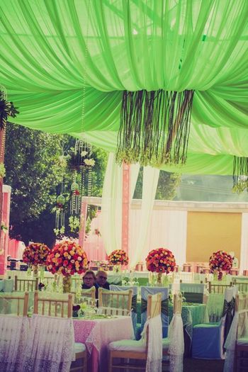 green and pink setting decor