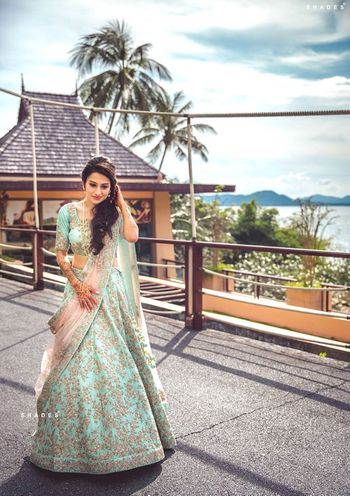 Turquoise Outfits Photo shell pink and blue lehenga