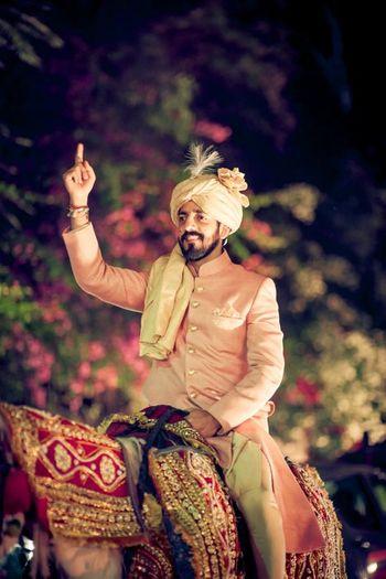 baby pink sherwani for the groom
