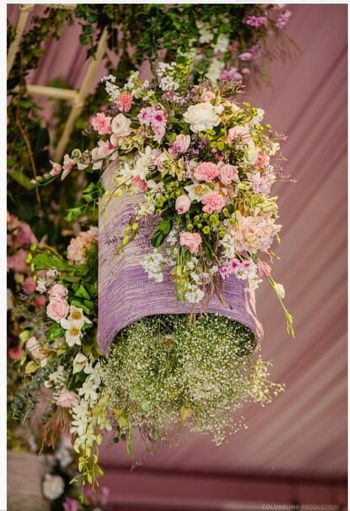 pretty hanging floral decor idea with babys breath