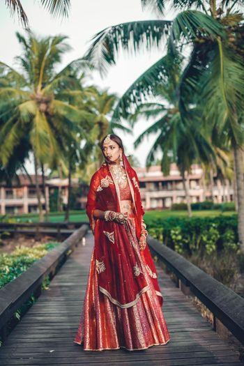 Red simple bridal lehenga and dupatta