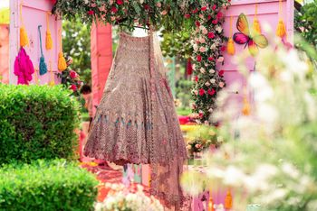 Photo of Pastel lehenga on a hanger