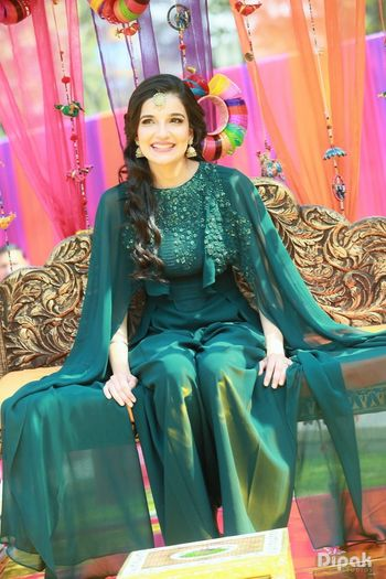 Teal Cape Outfit with Sequins for Mehendi