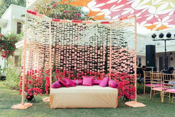 Ombre floral string backdrop for mehendi