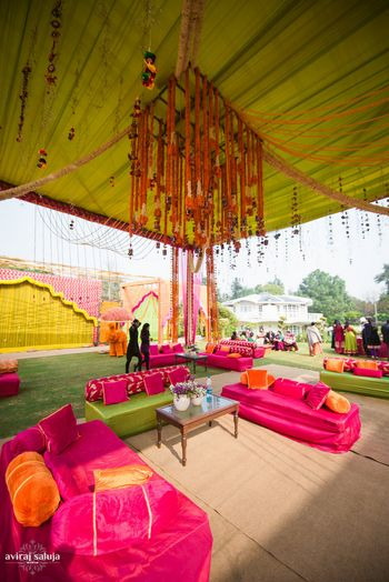 Photo of Mehendi decor in pink and green