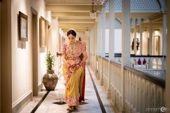 Fusion bridal saree in yellow and red