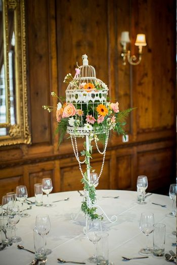Photo of birdcage table centerpieces