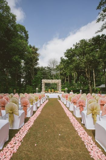 Photo of Pink and gold mandap for wedding