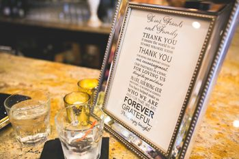 Photo of Framed thank you notes on every table
