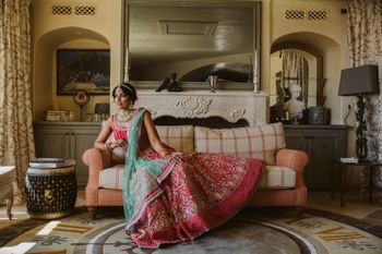Photo of Bridal portrait with the bride on a couch