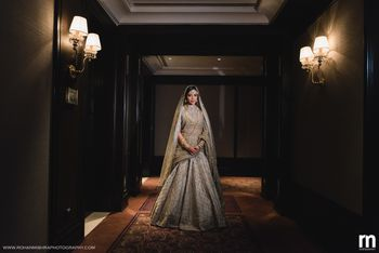 Photo of Muslim bride in pretty bridal lehenga