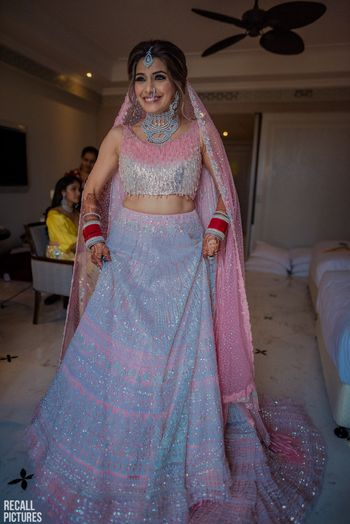 Photo of Pretty pink and silver bridal lehenga for wedding