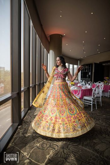 Photo of Varun Bahl lehenga with unique blouse design