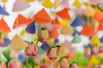 Quirky wedding decor with paper strings