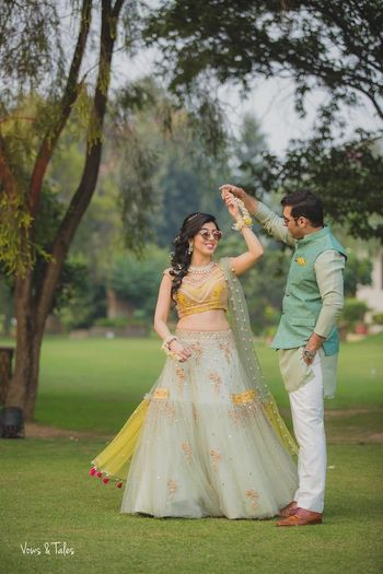 Photo of Dreamy engagement lehenga twirling bride