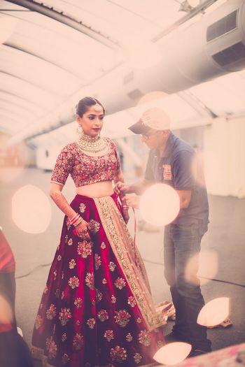 Photo of Deep marsala bridal lehenga in velvet