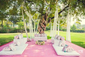 Simple mandap setting under a tree