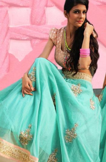 light blue lehenga with pastel blouse
