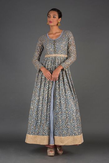 Light grey jacket style sequin anarkali