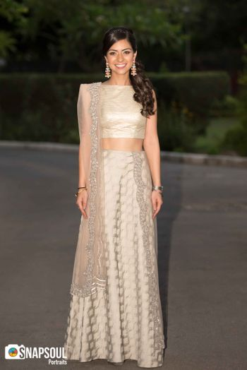 Light grey lehenga for engagement with sequin work